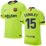 2018/19 Barcelona #15 LENGLET Away Authentic Light Yellow/Green Jersey
