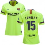 Women 2018/19 Barcelona #15 LENGLET Away Authentic Light Yellow/Green Jersey