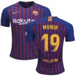 2018/19 Barcelona #19 MUNIR Home Authentic Blue & Red Stripes Jersey