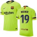 2018/19 Barcelona #19 MUNIR Away Authentic Light Yellow/Green Jersey