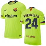 2018/19 Barcelona #24 VERMAELEN Away Authentic Light Yellow/Green Jersey