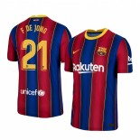 2020/21 Barcelona #21 F. DE JONG Home Blue Red Replica Jersey