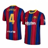 2020/21 Barcelona #4 Ivan Rakitic Home Blue Red Replica Jersey