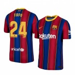2020/21 Barcelona #24 Junior Firpo Home Blue Red Replica Jersey