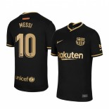 Womens 2020/21 Womens Barcelona #10 Lionel Messi Away Black Replica Jersey