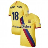 2019/20 Barcelona Stadium #18 Jordi Alba Yellow Away Authentic Jersey