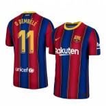 2020/21 Barcelona #11 Ousmane Dembele Home Blue Red Authentic Jersey