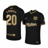 Womens 2020/21 Womens Barcelona #20 S.Roberto Away Black Replica Jersey