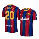 2020/21 Barcelona #20 S.Roberto Home Blue Red Replica Jersey