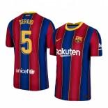 2020/21 Barcelona #5 Sergio Busquets Home Blue Red Replica Jersey
