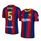 2020/21 Barcelona #5 Sergio Busquets Home Blue Red Replica Jersey