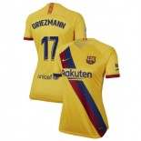 Women's 2019/20 Barcelona Away Stadium #17 Antoine Griezmann Yellow Replica Jersey