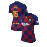 Women's 2019/20 Barcelona Home #15 Clement Lenglet Blue Red Authentic Jersey