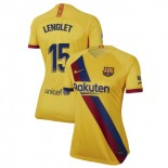 Women's 2019/20 Barcelona Away Stadium #15 Clement Lenglet Yellow Replica Jersey