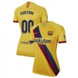 Women's 2019/20 Barcelona Away Stadium #00 Custom Yellow Authentic Jersey