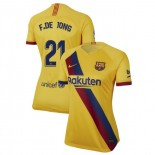 Women's 2019/20 Barcelona Away Stadium #21 Frenkie de Jong Yellow Replica Jersey