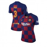 Women's 2019/20 Barcelona Home #3 Gerard Pique Blue Red Authentic Jersey