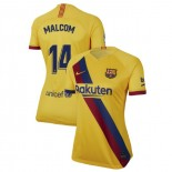 Women's 2019/20 Barcelona Away Stadium #14 Malcom Yellow Authentic Jersey