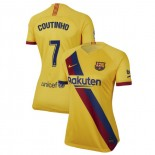 Women's 2019/20 Barcelona Away Stadium #7 Philippe Coutinho Yellow Replica Jersey