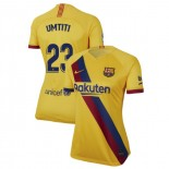Women's 2019/20 Barcelona Away Stadium #23 Samuel Umtiti Yellow Replica Jersey