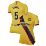 Women's 2019/20 Barcelona Away Stadium #5 Sergio Busquets Yellow Replica Jersey