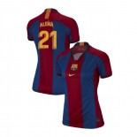 Women's Carles Alena Barcelona El Clasico Blue Red Retro Authentic Jersey