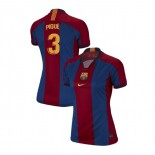Women's Gerard Pique Barcelona El Clasico Blue Red Retro Authentic Jersey