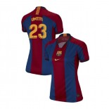 Women's Samuel Umtiti Barcelona El Clasico Blue Red Retro Authentic Jersey