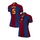 Women's Sergio Busquets Barcelona El Clasico Blue Red Retro Replica Jersey