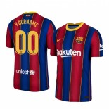 Womens Custom 2020/21 Womens Barcelona  Home Blue Red Authentic Jersey