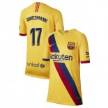 Youth 2019/20 Barcelona Away Stadium #17 Antoine Griezmann Yellow Replica Jersey
