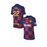 Youth 2019/20 Barcelona Home #22 Arturo Vidal Blue Red Replica Jersey