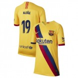 Youth 2019/20 Barcelona Away Stadium #19 Carles Alena Yellow Replica Jersey