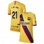 Youth 2019/20 Barcelona Away Stadium #21 Frenkie de Jong Yellow Replica Jersey