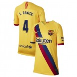 Youth 2019/20 Barcelona Away Stadium #4 Ivan Rakitic Yellow Replica Jersey