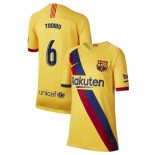 Youth 2019/20 Barcelona Away Stadium #6 Jean-Clair Todibo Yellow Replica Jersey