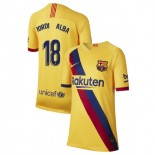 Youth 2019/20 Barcelona Away Stadium #18 Jordi Alba Yellow Replica Jersey