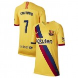 Youth 2019/20 Barcelona Away Stadium #7 Philippe Coutinho Yellow Authentic Jersey