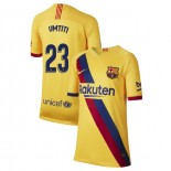 Youth 2019/20 Barcelona Away Stadium #23 Samuel Umtiti Yellow Replica Jersey