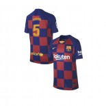 Youth 2019/20 Barcelona Home #5 Sergio Busquets Blue Red Replica Jersey