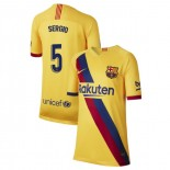 Youth 2019/20 Barcelona Away Stadium #5 Sergio Busquets Yellow Replica Jersey