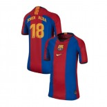 Youth Barcelona Jordi Alba El Clasico Blue Red Retro Authentic Jersey