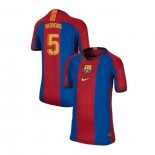 Youth Barcelona Sergio Busquets El Clasico Blue Red Retro Authentic Jersey